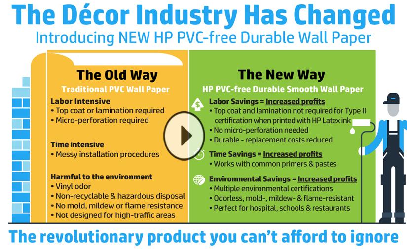 Email: HP PVC-freie, haltbare Tapeten · HP Large Format Print Media