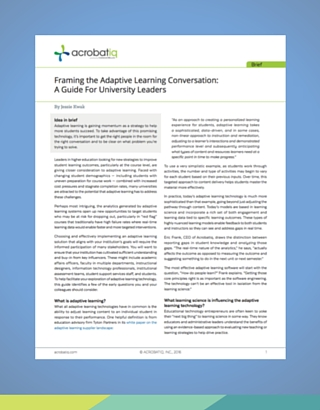 A Guide on Adaptive Learning for University Leaders