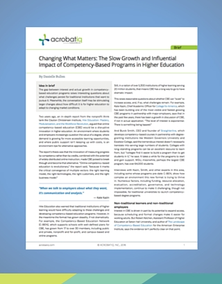 Impact of Competency-Based Programs
