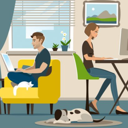 Man and woman working at home
